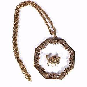 Birth month Taurus the bull metal necklace